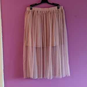 Tulle layered skirt, pink
